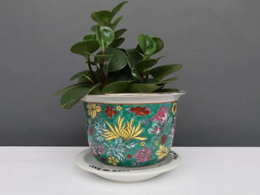 Blumentopf mit Untersetzer aus Porzellan Grünmalerei Blumenmotiv Ø 17cm