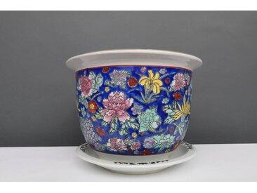 China Porzellan Blumentopf  Blau mit bunten Blumen Ø 40cm