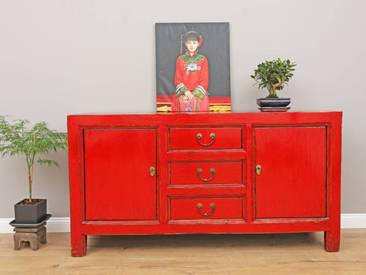 Antikes Sideboard chinesische Kommode rot