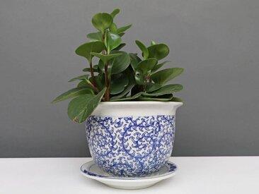 China Porzellan Blumentopf Blau-Weiß schnecken Blätter Ø 17cm