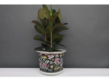 China Porzellan Blumentopf Schwarz mit bunten Blumen Ø 40cm