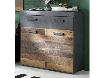 Schuhschrank Schuhkommode Indy | Old Used Wood / Matera grau | Shabby Look