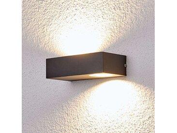 """LED Wandleuchte außen """"Loredana"""" aus Edelstahl in Alu von """"Lampenwelt.com"""", IP44 (2 flammig, A+)"""