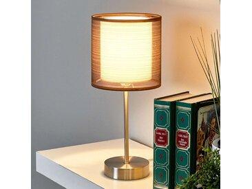 Nachttischlampe Nica mit braunem Stoffschirm