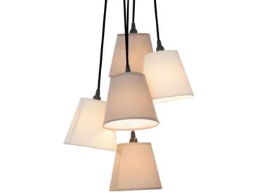 Pendelleuchte Twiddle mit Dimmer, u.a. für Wohn & Esszimmer aus Textil von Naeve Leuchten (5 flammig, E14, A++)