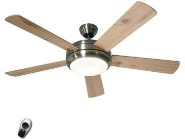 Deckenventilator mit Lampe Titanium mit Fernbedienung mit Dimmer, u.a. für Wohn & Esszimmer aus Holz von Casa Fan (2 flammig, E27, A++)
