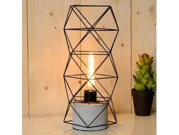 Beton Tischlampe Rumico, u.a. für Wohn & Esszimmer aus Beton, Metall in Schwarz von Lucide (1 flammig, E27, A++)