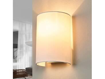 Wandleuchte, Wandlampe Innen Coral mit Dimmer, u.a. für Wohn & Esszimmer aus Textil in Weiß von Lucide (1 flammig, E14, A++)