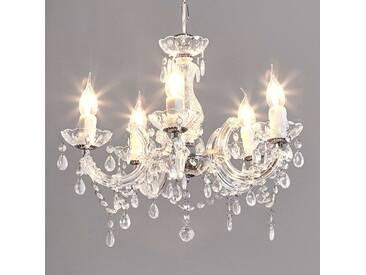Kronleuchter Arabesque mit Dimmer, u.a. für Wohn & Esszimmer aus Kunststoff in Transparent von Lucide (5 flammig, E14, A++)