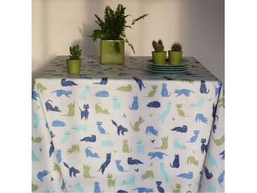 Tischdecke abwaschbar Katzen Blau