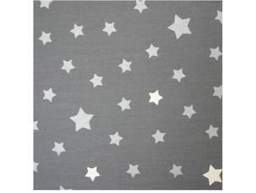 Beschichtete Baumwolle meterwarm Stern grau/silber