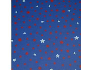 Beschichtete Baumwolle meterwarm Stern blau/rot