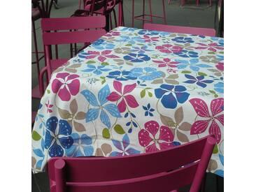 Gartentischdecke Kapuzinerkresse blau/rosa