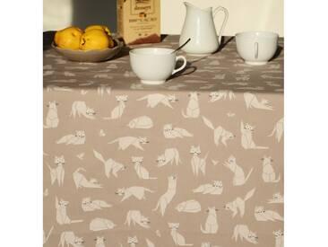 Tischdecke abwaschbar Katzen Braun