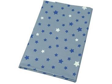 Beschichtete Baumwolle meterwarm Stern grau/blau