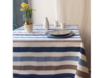 Gartentischdecke Streifen Taupe/Blau