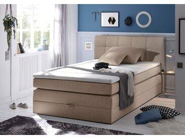 Boxspringbett in hellbraunem Feinstrukturstoff mit Bettkasten Bonell-Federkernpolsterung und Matratze, Schaum-Topper, Liegefläche: 140 x 200 cm
