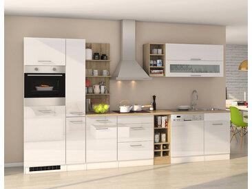 Küchenblock, weiß Hochglanz, Stellmaß: ca. 340 cm, mit Elektrogeräten inkl. Geschirrspüler