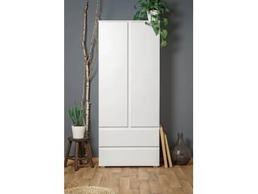 Mehrzweckschrank in weiß, mit 2 Türen, 2 Schubkästen und 3 Einlegeböden, Maße: B/H/T ca. 80/191/40 cm
