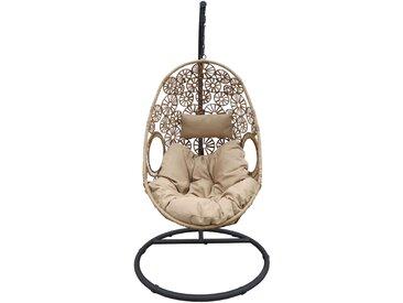 Hängesessel inkl. Stahlgestell in anthrazit, Geflecht in dunkel-/hellbraun, Kissen beige, Maße Sessel: B/H/T ca. 80/120/64 cm, Durchmesser ca. 200 cm