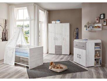 4-tlg. Babyzimmer in weiß gekälkter Holzoptik mit  Absetzungen in Steingrau Kleiderschrank, Wickelkommode und Kinderbett inkl. Lattenrost B: 144 cm
