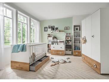 Babyzimmer in weiß mit Absetzungen in Plankeneiche-Nachbildung, 4-tlg. bestehend aus Kleiderschrank, Bett und Wickelkommode