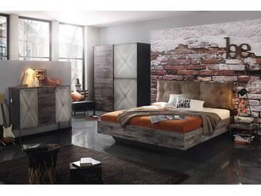Schlafzimmer 4-tlg. in graphit, Sunwood Fronten und steeldoor Absetzungen, Schwebetürenschrank B: ca. 200 cm, Bett 180x200 cm, Nachttisch B: ca. 40 cm
