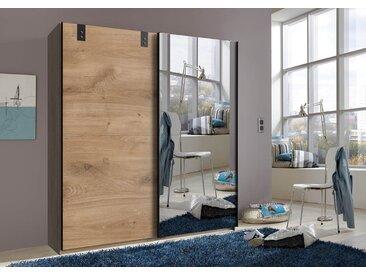 Schwebetürenschrank 2-trg. in Plankeneiche-Nachbildung mit Absetzungen in graphit und 1 verspiegelten Tür, Maße: B/H/T ca. 180/198/64 cm