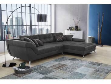 Sofa, Ecksofa in microfaserähnlichem Stoff in Antiklederoptik grau bezogen, inkl. Ottomane, 5 Kissen, 4 Zierkissen, Schenkelmaß: ca. 358 x 219 cm