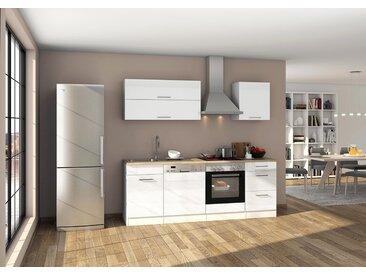 Küchenblock, weiß Hochglanz, Stellmaß: ca. 220 cm, mit Elektrogeräten inkl. Geschirrspüler
