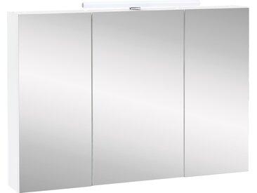 Spiegelschrank 3-trg. in weiß mit 6 Glas-Einlegeböden, inkl. LED-Aufbauleuchte, Maße: B/H/T ca. 100/71-75/15,7 cm