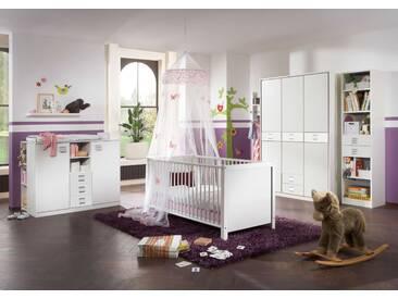 Babyzimmer 6-tlg. Alpinweiß 3-trg. Schrank, Kinderbett 70x140 mit Bettumbauseiten, Wickelkommode B: 122 cm, Unterstellregal