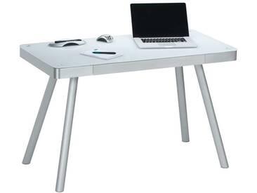Schreib- und Computertisch, Metallgestell Alu gebürstet, Tischplatte aus Weißglas, Schublade mit Filz, Maße: B/H/T ca. 120,2/73/60,2 cm