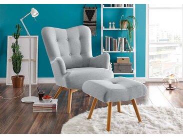 Sessel mit Hocker in hellgrauem Webstoff bezogen mit Schaumstoffpolsterung, Füße aus Massivholz, Maße: B/H/T ca. 77/101/100 cm
