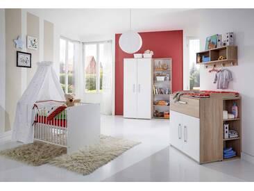 4-tlg. Babyzimmer in Eiche-Sonoma NB, Fronten in weiß, Kleiderschrank B: 88 cm, Wickelkommode B: 87 cm, Babybett 70 x 140 cm