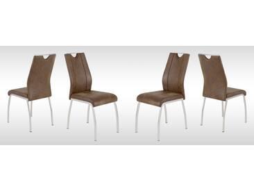 4er-Set Stühle in braunem microfaserähnlichem Vintagelook mit Beinen im Edelstahllook und Gurtunterfederung, Maße: B/H/Tca. 43/98/53 cm