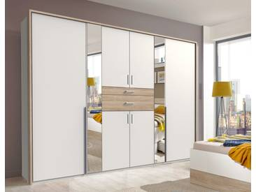 Drehtürenschrank in weiß und Eiche sägerau-NB mit 2 Schubkästen und 2 Spiegeln, Maße: B/H/T ca. 270/208/58 cm