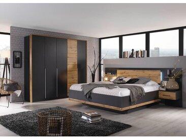 Schlafzimmer 4-tlg. in grau-metallic mit Absetzungen in Eiche Wotan-NB, Drehtürenschrank B: ca. 226 cm, Bettanlage B: ca. 279 cm