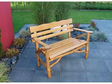 Gartenbank 2-sitzer aus Knüppelholz in Eiche und Buche massiv mit Holzlasur in Eiche dunkel, Maße: B/H/T ca. 128/86/70 cm