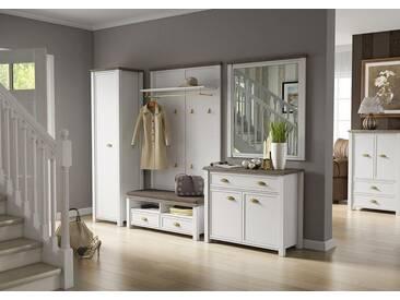Garderobe in weiß mit Appl. in San Remo-Eiche-NB,Schrank, Bank, Kommode, Wandpaneel, Spiegel, Gesamtmaße der Garderobe: B/H/T ca. 290/193/43 cm
