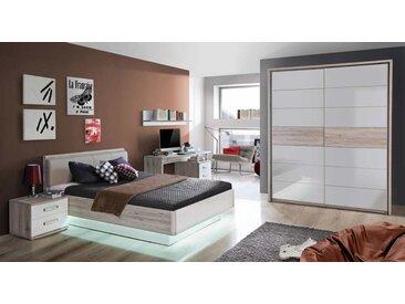 Jugendzimmer in Sandeiche-NB und weiß Hochglanz, Bett (ca. 140x200cm), Nachtkommode, Schreibtisch, Wandregal, Schwebetürenschrank (B:ca. 170,3cm)