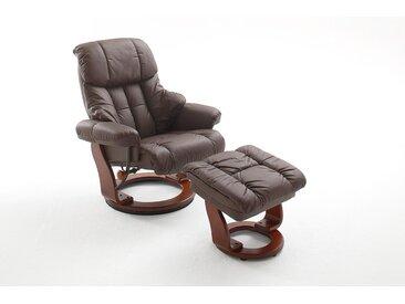 Relaxsessel in braunem Echtleder inkl. Hocker, Gestell walnuss, Maße: B/H/T ca. 90/104-89/91-122 cm