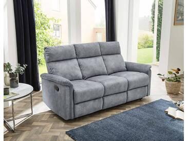 3er Sofa in Velour vintage hellgrau bezogen mit Liegefunktion, Maße: B/H/T ca. 180/100/90 cm