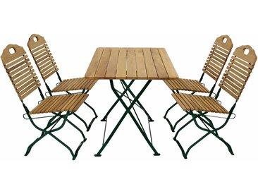 Gartenmöbel-Set, 5-teilig, mit einer Belattung aus Robinienholz und einem Gestell aus verzinktem Flachstahl in moosgrün, klappbar