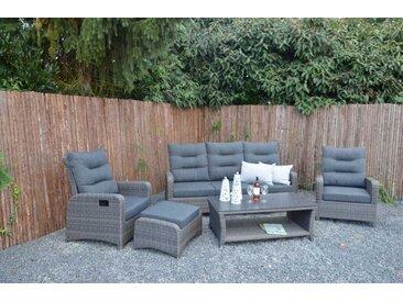 4-tlg. Premium-Lounge-Set aus Polyrattan-Doppelgeflecht in anthrazit-grau mit Alu-Gestell, 2 Loungestühle, Loungebank und Loungetisch