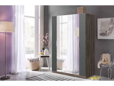Falt-/Drehtürenschrank 3-trg. Schlammeiche mit Abs. in graphit, 5 Einlegeböden, 2 Kleiderstangen, 1 Spiegeltür, Maße B/H/T ca. 139/200/64 cm