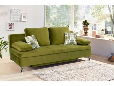 Sofa, Funktionssofa in grünem samtähnlichen Stoff bezogen, Bettkasten, Schlaffunktion, 4 gr. Kissen u. 2 Zierkissen, Maße: B/H/T ca. 203/88/97 cm