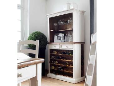 Buffet aus recyceltem Kiefer in weiß u. honigfarben mit Weineinsatz, 2 Schubladen, 8 Gläserschienen u. 1 Einlegeboden, Maße: B/H/T ca. 112/190/52 cm