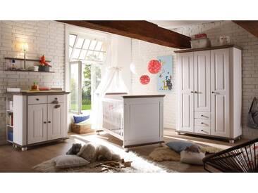 Babyzimmer 4-tlg. in weiß Wachs, Lava, massiv, Kleiderschrank B: 131 cm, Wickelkommode B: 96 cm,  Babybett Liegefläche 70 x 140 cm