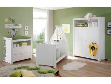 4-tlg. Babyzimmer in weiß, Kleiderschrank B:130 cm,Wickelkommode B:96 cm, Babybett Liegefläche 70 x 140 cm
